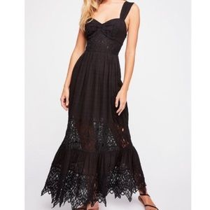 Free people black lace maxi dress